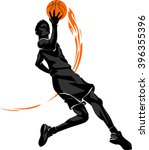 basketball mid air layup flame | Shutterstock .eps vector #396355396