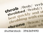 Small photo of Close up of old English dictionary page with word throb