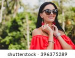 young stylish sexy woman in red ... | Shutterstock . vector #396375289