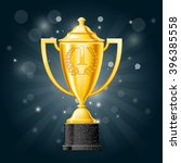 golden cup with laurels   first ... | Shutterstock .eps vector #396385558