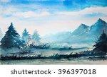mountain watercolor landscape.   Shutterstock . vector #396397018