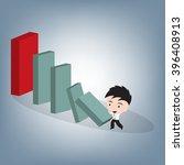 business man push small brick...   Shutterstock .eps vector #396408913