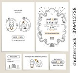set of wedding invitation cards.... | Shutterstock .eps vector #396412738