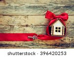 plywood small house with red...   Shutterstock . vector #396420253