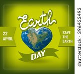 poster with earth day. earth in ... | Shutterstock .eps vector #396423493