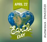 poster with earth day. earth in ... | Shutterstock .eps vector #396423520