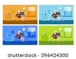 the girl in the office vector | Shutterstock .eps vector #396424300