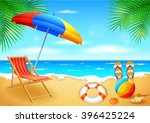 beach and tropical sea with... | Shutterstock . vector #396425224