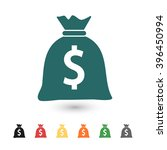 set of  blue money bag vector...