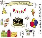 happy birthday doodle hand... | Shutterstock . vector #396464614