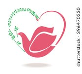 Dove And Heart Spring. Symbol...