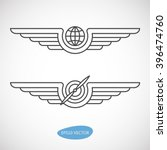 aviation emblems  badges and... | Shutterstock .eps vector #396474760