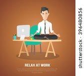 cartoon style man meditation in ...   Shutterstock .eps vector #396480856