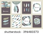 a set of cards with decorative... | Shutterstock .eps vector #396483373