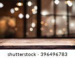 Stock photo blurred background of bar and dark brown desk space of retro wood 396496783