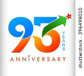 Template logo 93rd anniversary color with star, vector illustrator