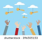 hand grabbing key of success... | Shutterstock .eps vector #396505153