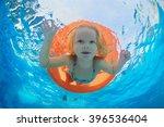 funny underwater photo of baby... | Shutterstock . vector #396536404