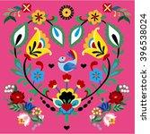 flower embroidery card  vector... | Shutterstock .eps vector #396538024