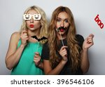 two stylish sexy hipster girls  ... | Shutterstock . vector #396546106