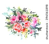 greeting card with roses....   Shutterstock . vector #396561898