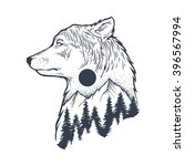 abstract wolf and forest | Shutterstock .eps vector #396567994