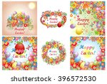 set of easter cards with...   Shutterstock .eps vector #396572530