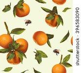 vector citrus seamless pattern... | Shutterstock .eps vector #396583090