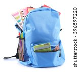 Small photo of Backpack with school supplies, isolated on white