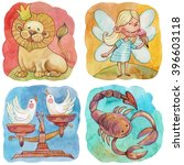 zodiac icons. set. watercolor.... | Shutterstock . vector #396603118