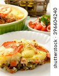 casserole with minced meat ... | Shutterstock . vector #396604240