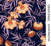 seamless middle ages floral... | Shutterstock .eps vector #396616960