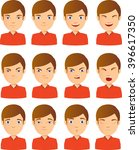 young male face expression set   Shutterstock .eps vector #396617350