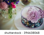purple cake decorated with...   Shutterstock . vector #396638068