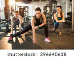 three pretty girls workout in... | Shutterstock . vector #396640618