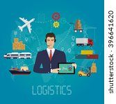 vector logistics manager agent... | Shutterstock .eps vector #396641620