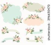 rustic floral frame elements | Shutterstock .eps vector #396650470
