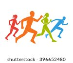 colored silhouettes of runners. ... | Shutterstock . vector #396652480