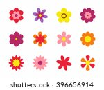 Stock vector flowers isolated on white background set of colorful floral icons flowers in flat dasing style 396656914