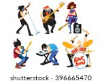 musicians rock group isolated... | Shutterstock .eps vector #396665470