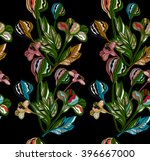 flowers and plants drawn by... | Shutterstock .eps vector #396667000