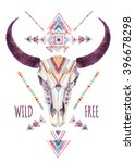 Cow Skull In Tribal Style....