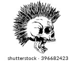 vector illustration punk skull... | Shutterstock .eps vector #396682423