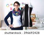smiling fashion designer... | Shutterstock . vector #396692428