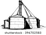 Cereal Or Grain Factory. Flat...