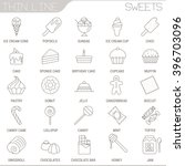 thin line sweets vector...