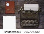 top view of stuff office desktop | Shutterstock . vector #396707230