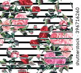 Spring Pattern With Big Roses...