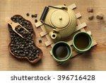 Stock photo tea ceremony green tea tea pot and tea cups 396716428