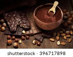 chocolate bar pieces  nut... | Shutterstock . vector #396717898